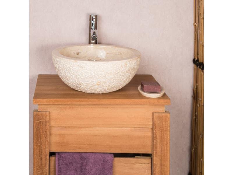 Lave mains en pierre à poser stromboli crème 35cm 32013-35