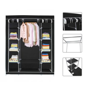 Armoire penderie noire en tissu garde robe 3 portes et - Armoire conforama 3 portes ...