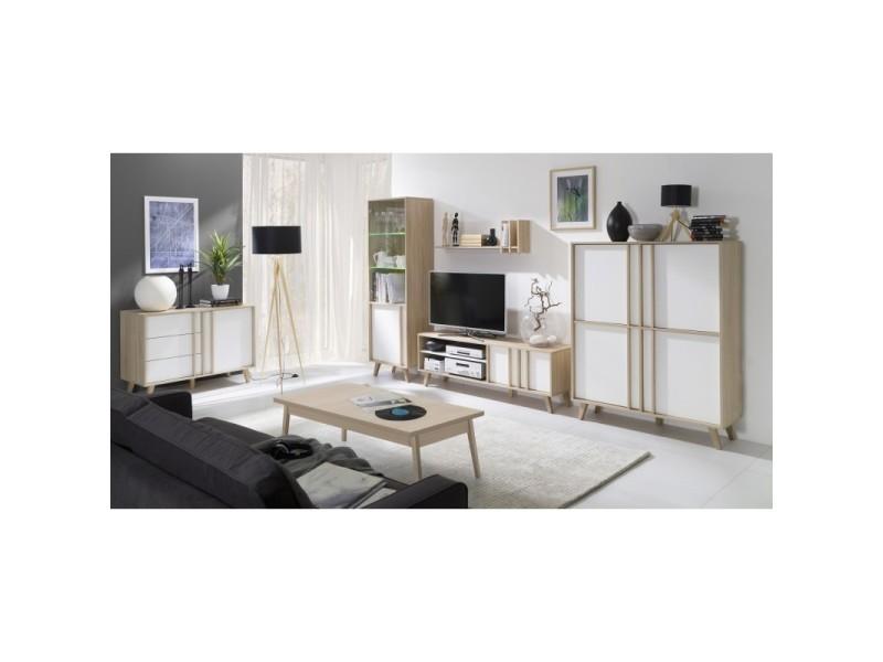 Price factory ensemble design pour votre salon malmo biblioth que petit mod le meuble tv for Modele de meuble pour salon