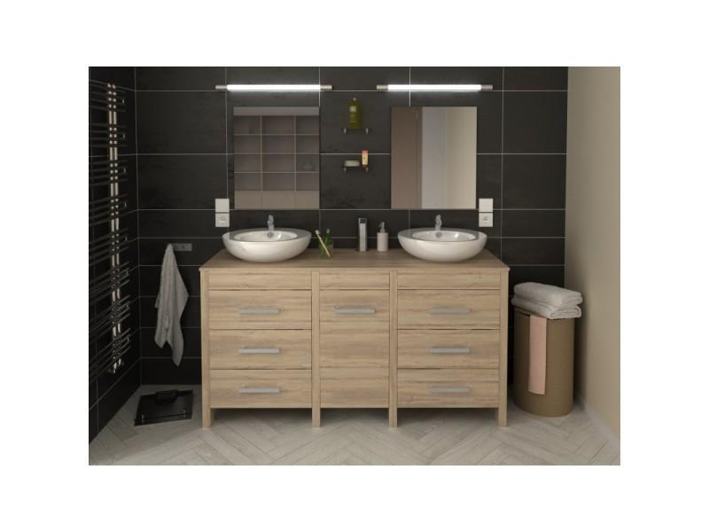 meuble de salle de bain double vasque 150 cm finition ch ne hero l 150 x l 46 x h 82 vente. Black Bedroom Furniture Sets. Home Design Ideas