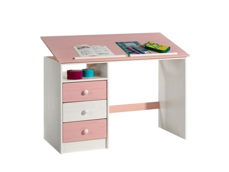 awesome bureau enfant tiroirs lasur blanc rose vente de bureau conforama with conforama. Black Bedroom Furniture Sets. Home Design Ideas
