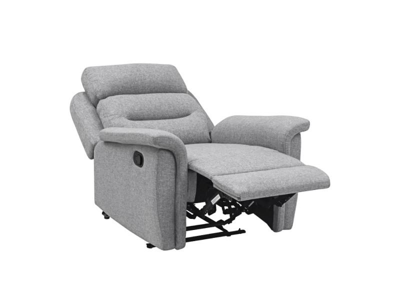 Fauteuil de relaxation 1 place en tissu gris léon - Vente ...