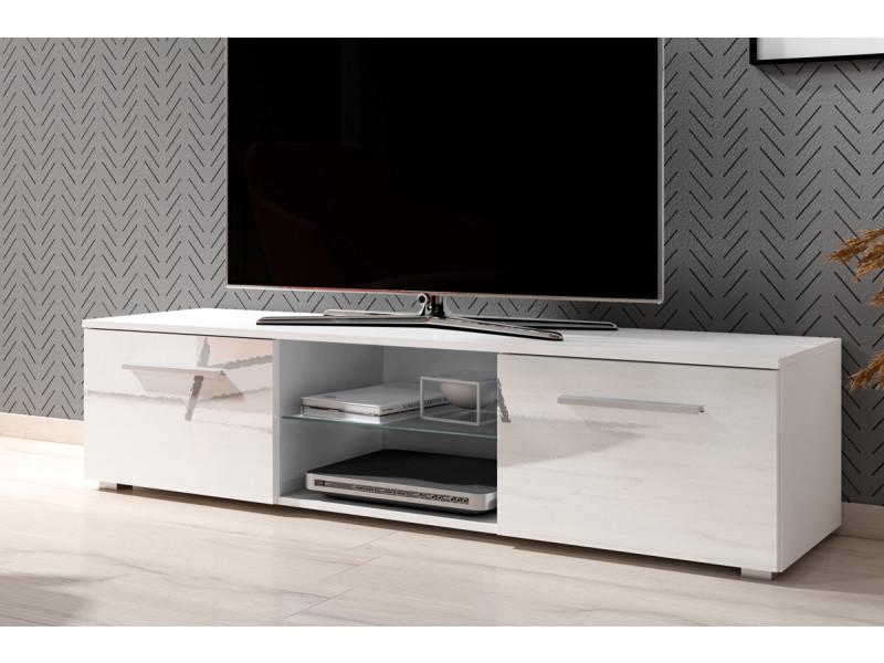 Meuble Tv Banc Tv Tenus 140 Cm Blanc Mat Blanc Brillant Sans Led Vente De Meuble Tv Conforama