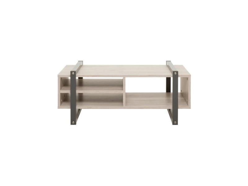 Brooklyn table basse style industriel décor chene et gris anthracite - l 100 x l 60 cm