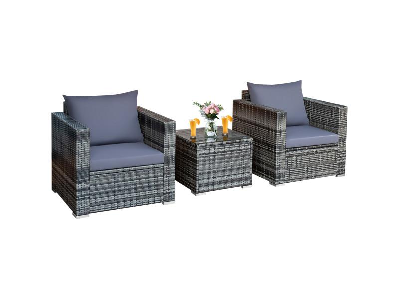 Giantex salon de jardin en rotin 3 pièces 2 places avec coussins lavables 1 table basse en verre trempé
