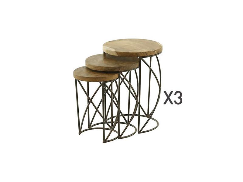 Lot de 3 tables gigognes en bois massif recyclé et métal