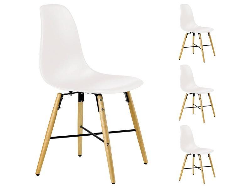 Lot de 4 chaises cicero blanches vente de idimex conforama - Lot 4 chaises blanches ...
