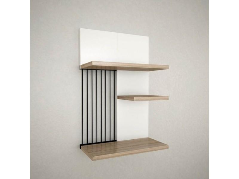 Étagère madera blanc chêne noir pour chambre séjour bureau