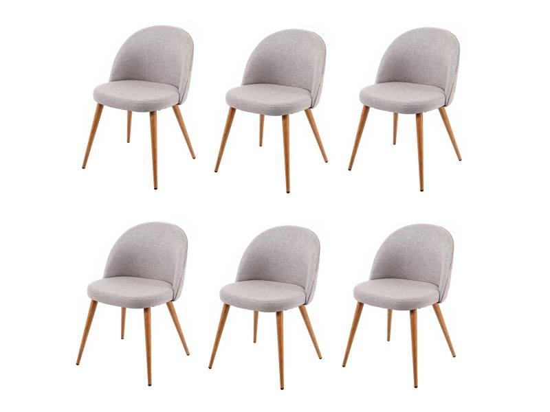 6x chaise de salle à manger hwc-d53, fauteuil, style rétro années 50, en tissu ~ gris clair