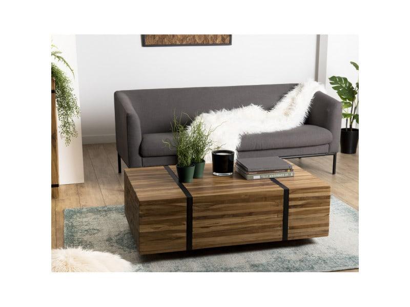 Table basse bois 110x70cm avec roulettes teck recyclé cerclée métal