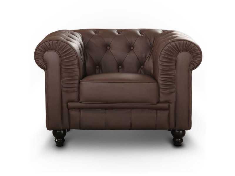 Grand fauteuil chesterfield marron