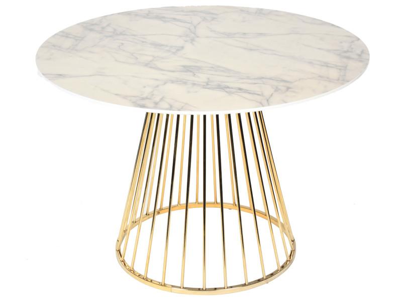 Table ronde scandinave vintage effet marbre pied en métal doré olga 012568