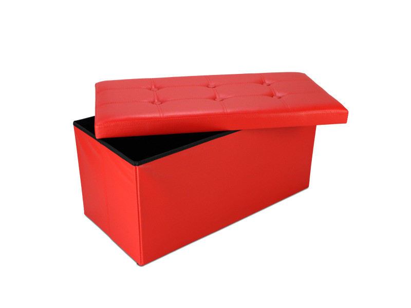 Ottoman avec espace de stockage, banc pliant, 76 x 38 x 38 cm, rouge, finition piquée et capitonnée, charge maximale: 150 kg 3700778712309