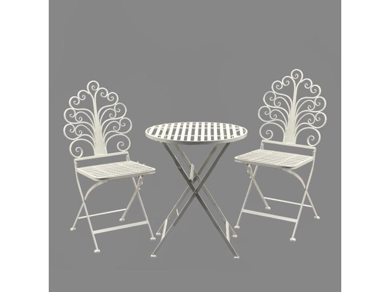 Ensemble salon de jardin 2 chaises 1 table blanc fer 11278x2 ...