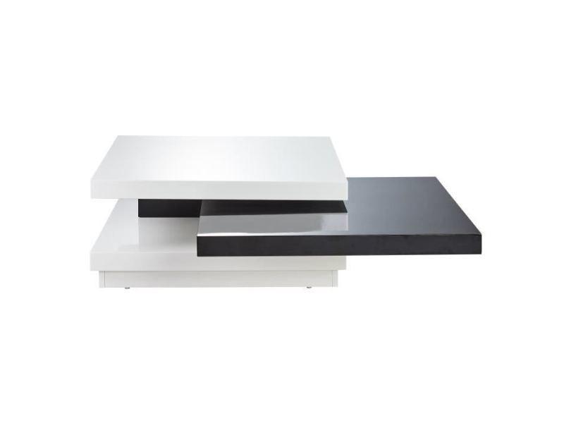 Table basse tokyo table basse carrée pivotante style contemporain laquée noir et blanc brillant - l 80 x l 80 cm