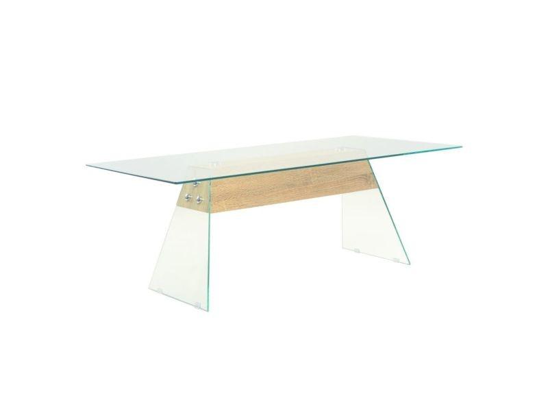 Inedit consoles ensemble lomé table basse mdf et verre 110 x 55 x 40 cm couleur de chêne