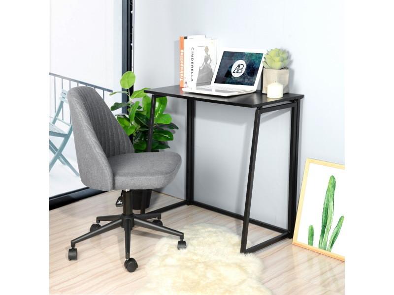 Bureau D Ordinateur Bureau Pliant Noir Bois Metal Vente De Furniturer Conforama