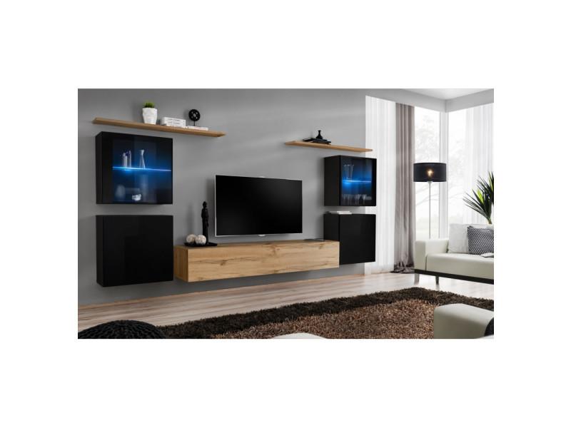 Ensemble mural - switch xiv - 4 vitrines - 1 banc tv - 2 étagères - bois et noir - modèle 2