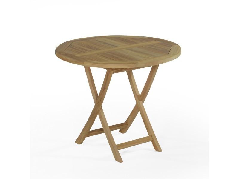 Salon de jardin en teck ecograde daru, table pliante ronde d ...