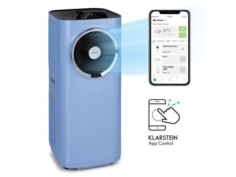 Klarstein kraftwerk smart 10k - climatiseur mobile connecté - 10000 btu - pour 29 à 49 m² - classe a - bleu