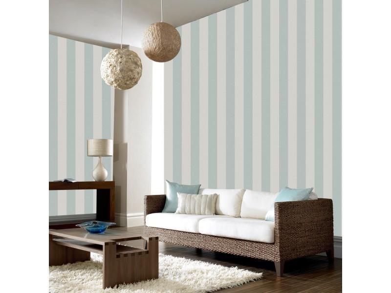 Papier peint intissé rayures pureté soyeuse vinyle expansé 1005 x 52cm sarcelle, ecru 104767