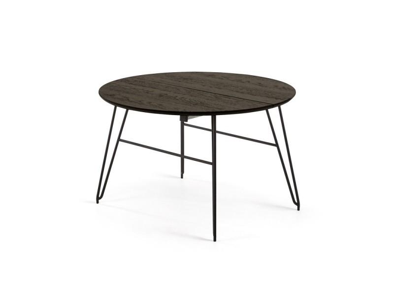 Table à manger ronde extensible 120-200 cm en bois et métal noir - l 120 x l 120 x h 75