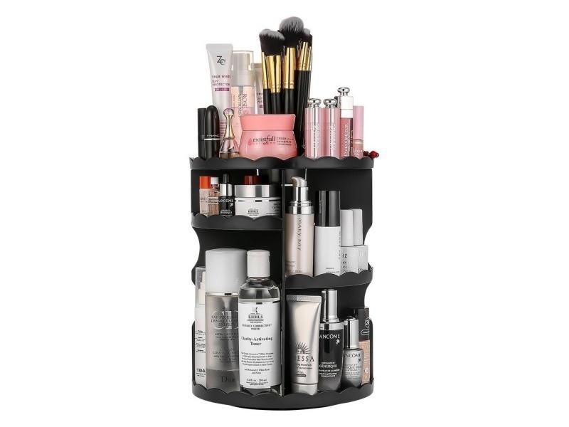 Plateau rangement de maquillage, tournant 360 dégres, ajustable, large capaité, noir
