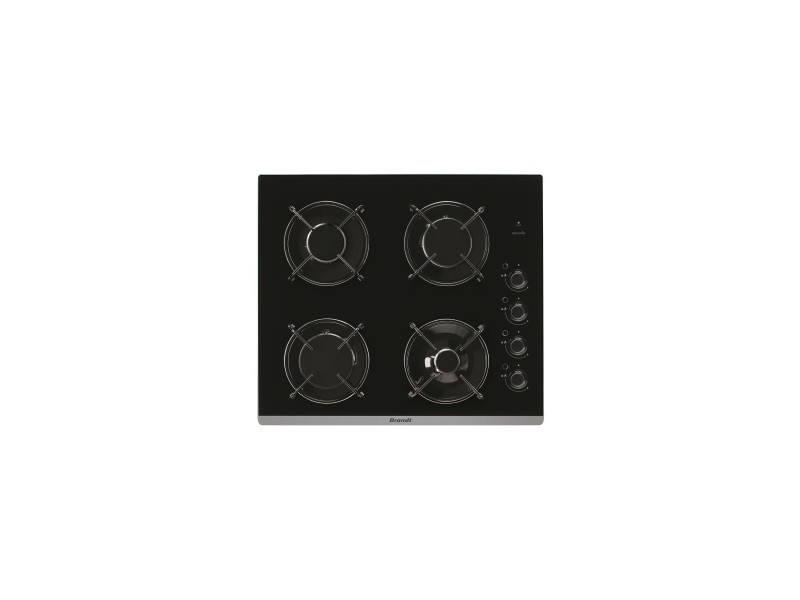 Brandt table de cuisson gaz 4 bruleurs - 1 bruleur rapide 3100w - 58cm - coloris noir