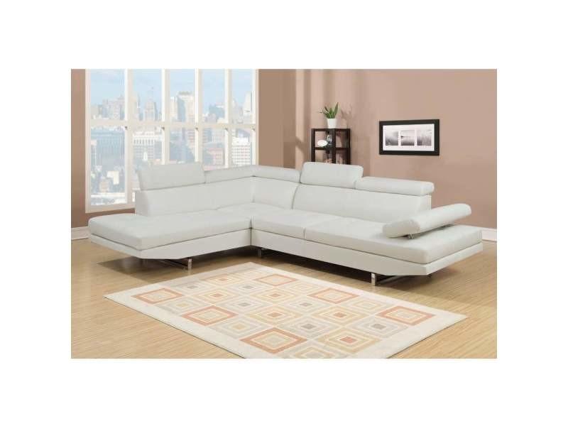 Canapé d'angle gauche design rubic blanc (gauche)-