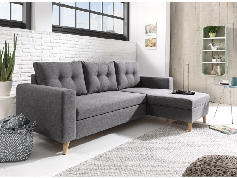 Nordic Canape Scandinave D Angle Reversible Convertible Gris