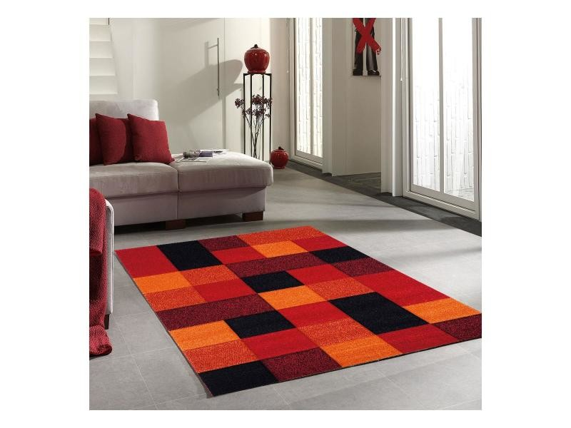 Tapis salon moderne motif géométrique brillance cube noir, orange ...