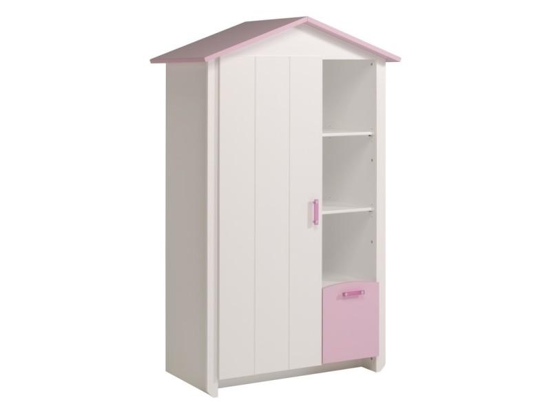 armoire beauty 112 x 60 x 181 cm 1 porte vente de parisot conforama. Black Bedroom Furniture Sets. Home Design Ideas