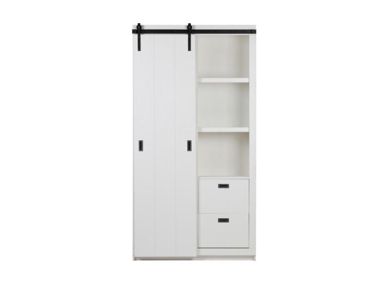 Barn - armoire design bois porte coulissante - couleur - blanc 378566-W