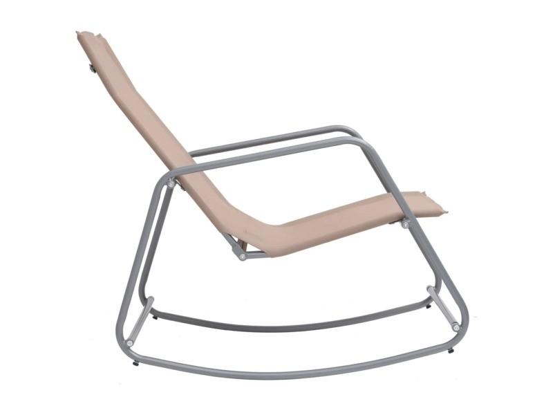 Vidaxl chaise à bascule de jardin taupe 95x54x85 cm textilène