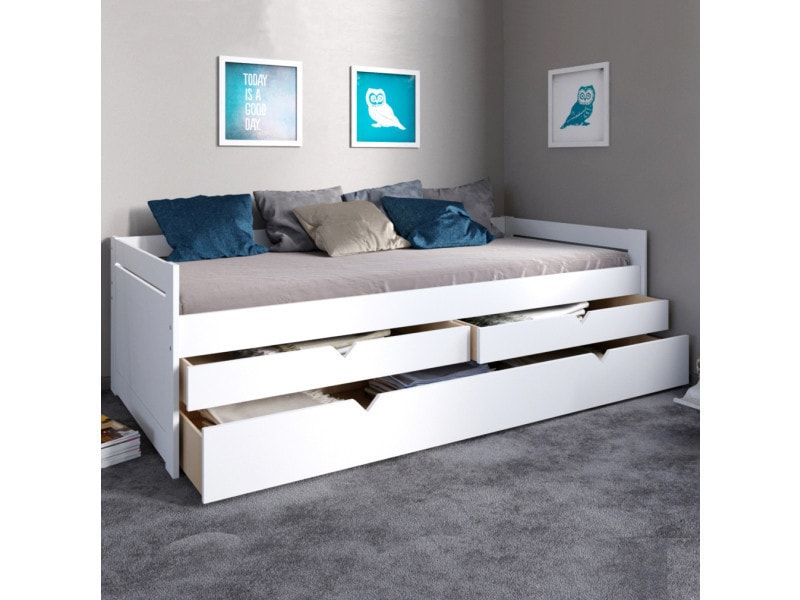 banquette lit gigogne 90x200 trendy avec 2 tiroirs blanc 22759z conforama. Black Bedroom Furniture Sets. Home Design Ideas