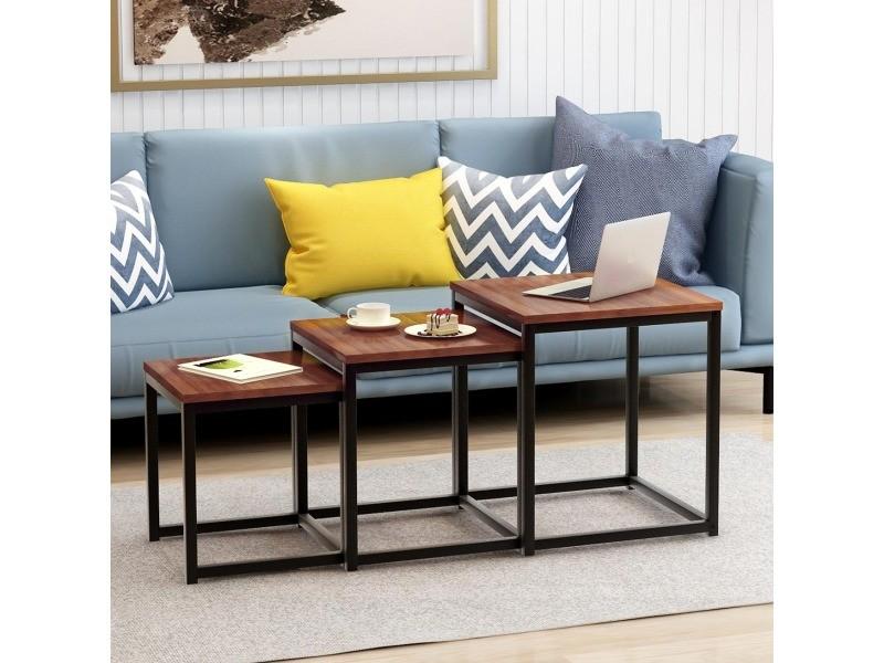 Lot de 3 tables basses gigognes design industriel en bois et métal