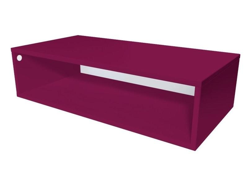 Cube de rangement bois 100x50 cm prune CUBE100-PR
