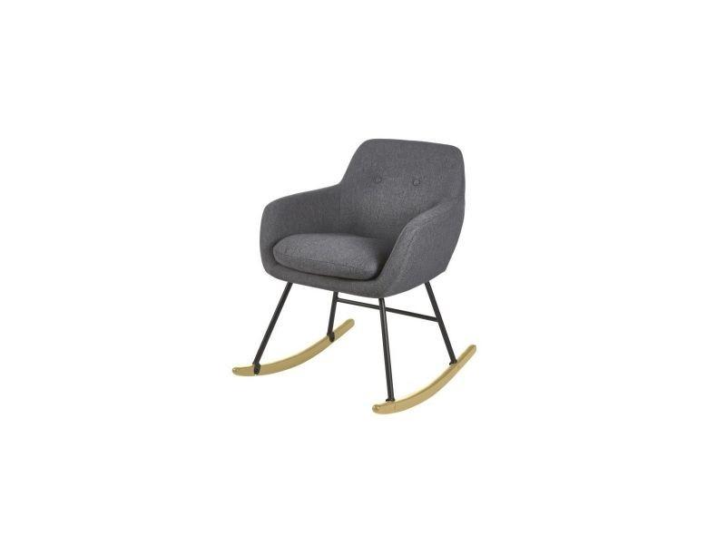 Jens fauteuil a bascule rocking chair - tissu effet lin gris anthracite - scandinave - l 63 x p 75 cm