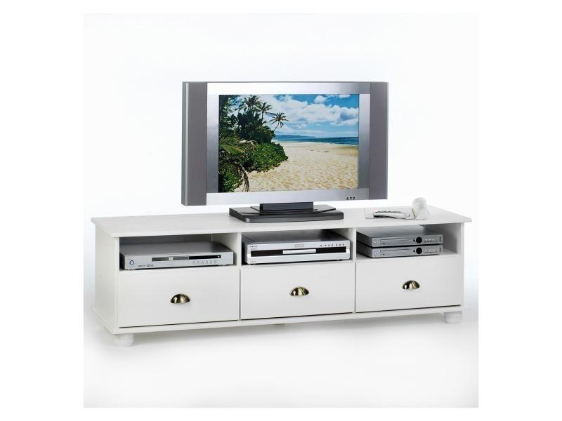 Meuble banc tv vintage pin massif lasur blanc conforama for Banc tv blanc