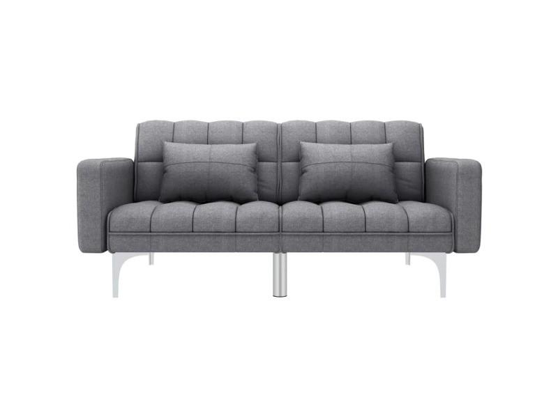 Vidaxl canapé-lit gris clair tissu 247215