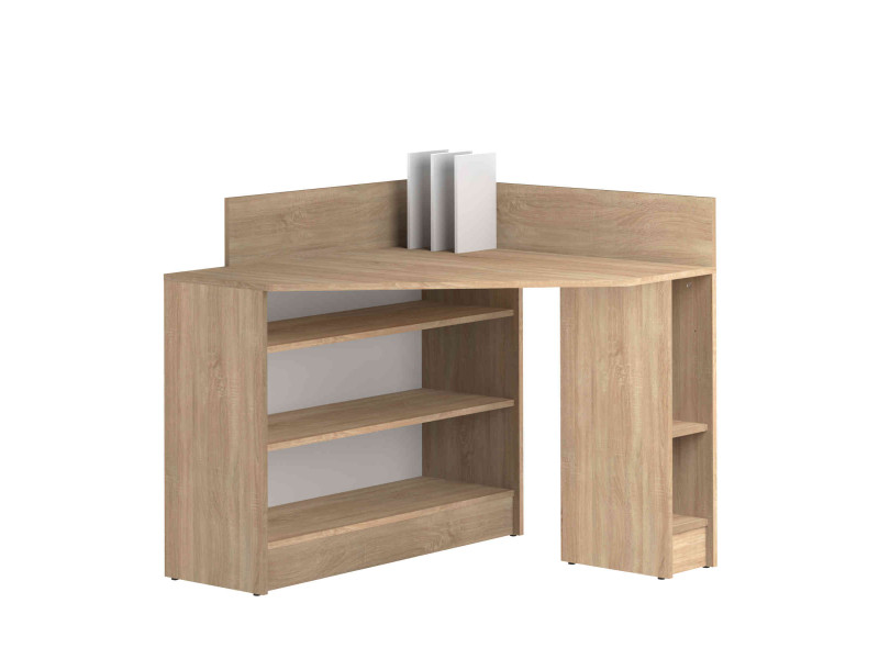 bureau d 39 angle en bois imitation naturel avec niche de. Black Bedroom Furniture Sets. Home Design Ideas
