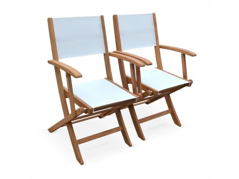 Lot de 2 fauteuils de jardin en bois almeria, 2 fauteuils pliants eucalyptus fsc huilé et textilène blanc