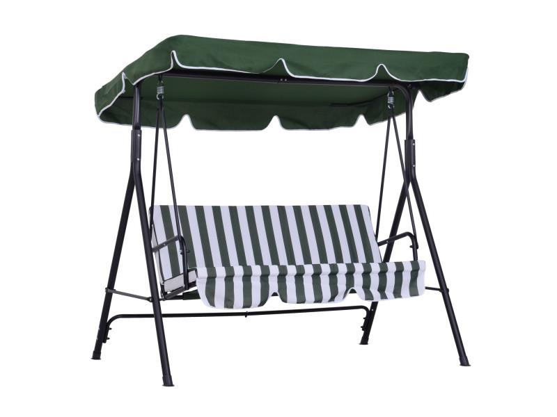 Balancelle de jardin 3 places toit inclinaison réglable coussins assise et dossier 1,72l x 1,1l x 1,52h m acier noir polyester vert