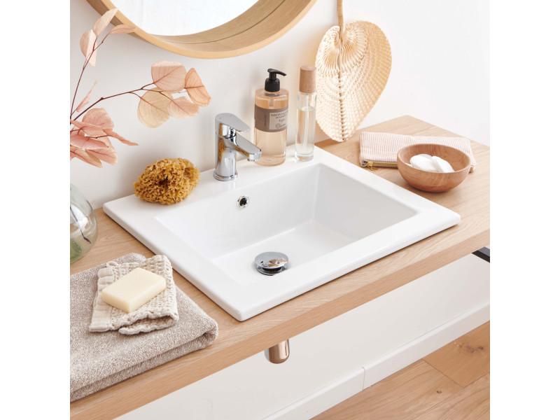 Lot de 2 vasques blanches à encastrer céramique l50 lina - Vente de ...