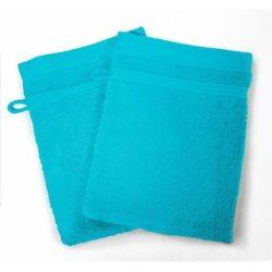Lot de 2 gants de toilette 15 x 21 cm bleu turquoise