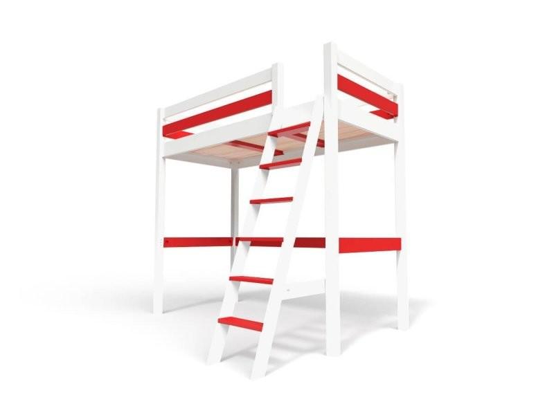 Lit mezzanine sylvia avec échelle bois 90x200 blanc/rouge SYLVIA90ECH-LBRed