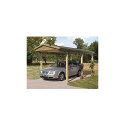 Carport 14,73m² en bois autoclave fsc toit double pente karibu