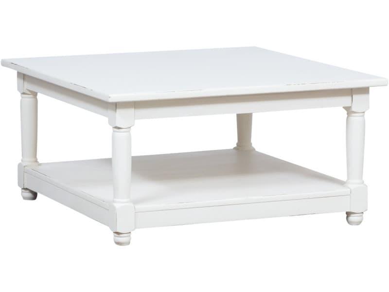 Table basse à fumere style rustique en bois massif de tilleul finition blanche antique l90xpr90xh45 cm