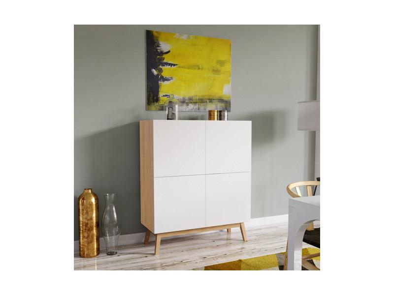 meuble de rangement home 4 portes blanc et chene blanchi
