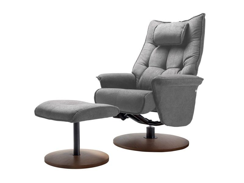 Labros - fauteuil gris + repose-pieds gris